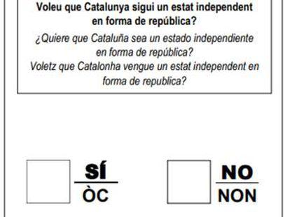La papeleta del referéndum, en la página 30 del decreto 140/2017, de 6 de septiembre.