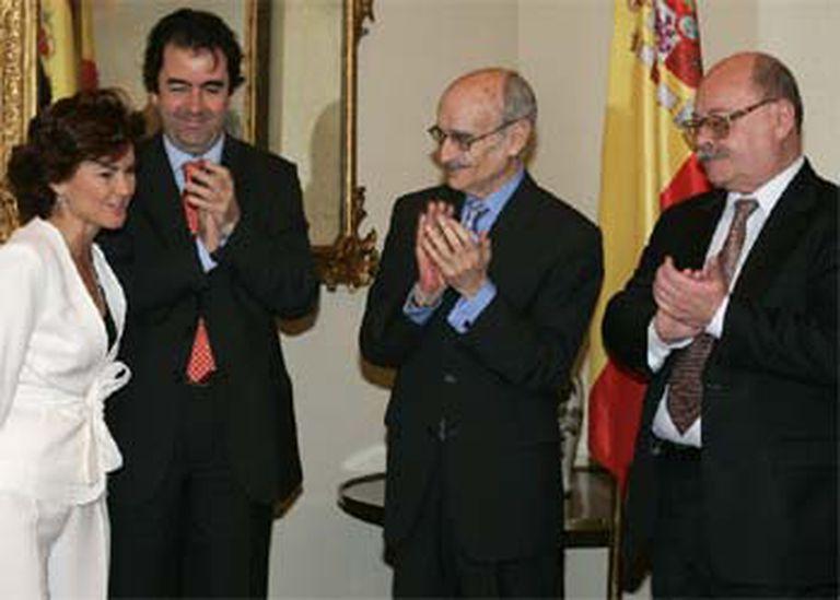 De izquierda a derecha, Carmen Calvo, Carlos Alberdi, José Antonio Campos y Manuel Pérez Estremera.