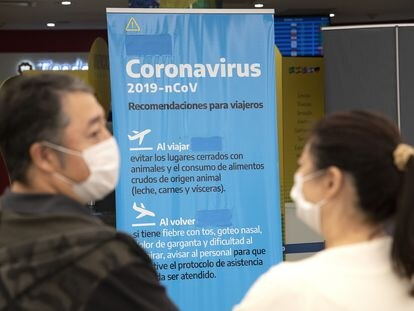 Un cartel en el Aeropuerto Internacional Ministro Pistarini, Argentina.