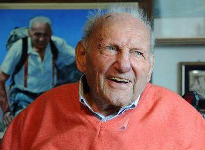 El alpinista Riccardo Cassin, el día que cumplía 100 años.