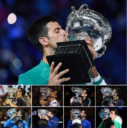 Las nueve conquistas de Djokovic en Australia.