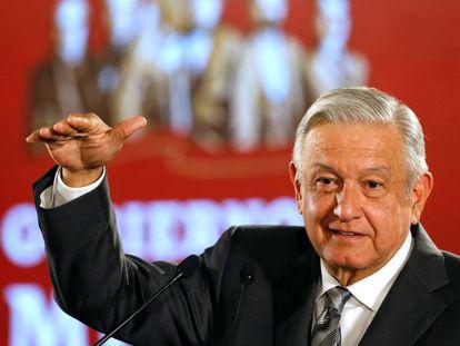 López Obrador durante una rueda de prensa.