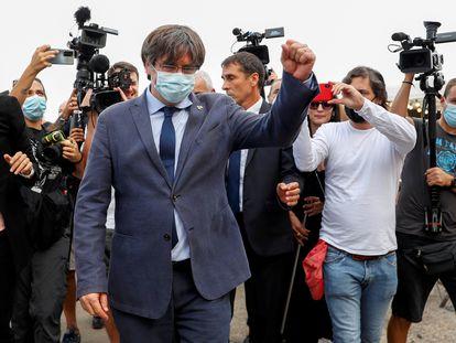 El expresidente catalán Carles Puigdemont, este sábado en Alghero (Cerdeña).