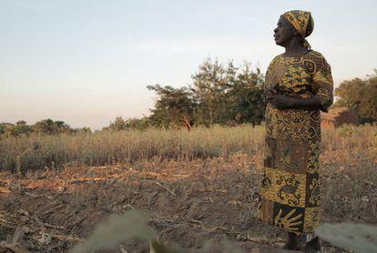Sofia Tore, ante el campos seco que cultiva en el distrito de Machinga (Malawi).