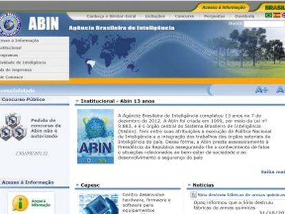 Página de la agencia brasileña de inteligencia