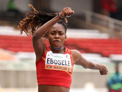 Tessy Ebosele en la final de triple salto del campeonato del Mundo de Atletismo al Aire Libre Sub 20 en Nairobi.