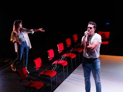 Ensayo general de la obra teatral 'Voltaire', que se estrena este jueves en el Teatro Quique San Francisco de Madrid.