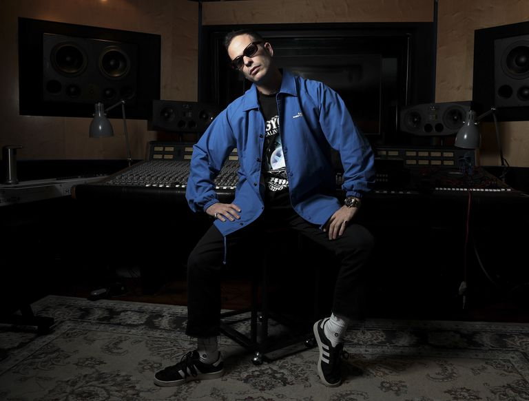 The musician, composer and producer Alizzz at the Mapa Música recording studios in Madrid, last Thursday.
