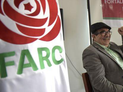 Rodrigo Londoño, 'Timochenko', en un acto político de las FARC en 2018.