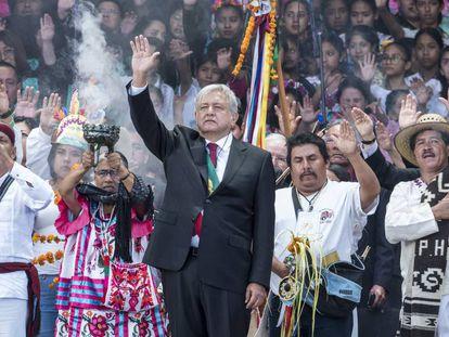 Andrés Manuel López Obrador durante su investidura en el zócalo de la Ciudad de México.