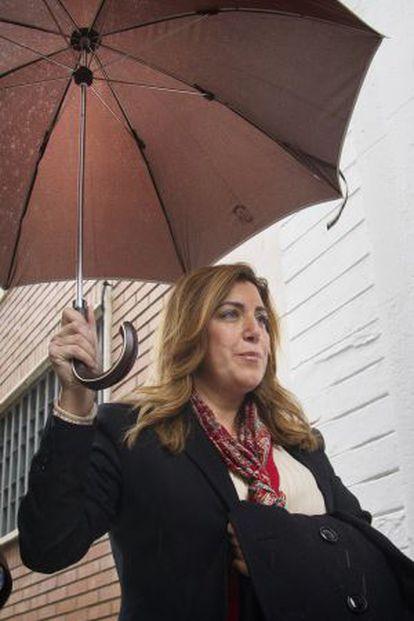 Susana Diaz, antes de su encuentro con los secretarios provinciales del PSOE.