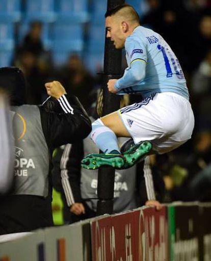 Iago Aspas celebra el gol del Celta.