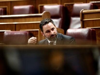 El líder de Vox, Santiago Abascal, durante el pleno celebrado el pasado miércoles en el Congreso de los Diputados en Madrid.