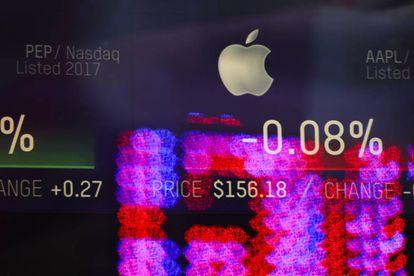 La cotización de Apple, en una pantalla en Nueva York.