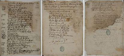 Tres páginas del manuscrito de 'Mujeres y criados', obra inédita de Lope de Vega hallada en la Biblioteca Nacional.