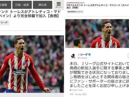 Captura del tuit de la liga japonesa.