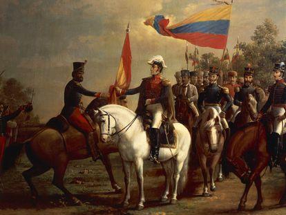 Ilustración de Simón Bolívar en la batalla de Carabobo, en junio de 1821, pintada por Arturo Michelena.