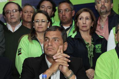 Rafael Correa en un encuentro en Quito, en febrero