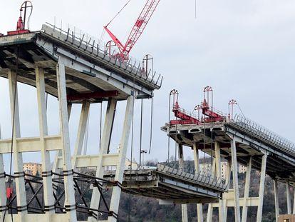 El puente Morandi de Génova (Italia), en una vía gestionada por Autostrade, en una imagen de febrero de 2019.