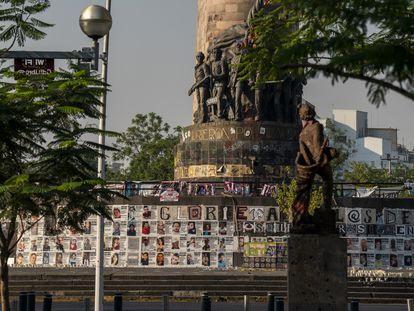 La glorieta  en honor a los Niños Héroes ha sido transformada en un memorial  para las personas desparecidas.
