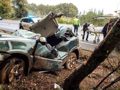 Un vehículo implicado en un accidente de tráfico.