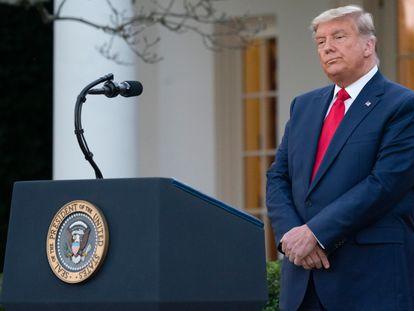 Trump, antes de ofrecer una comparecencia este viernes 13 de noviembre.