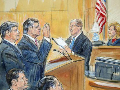 Un esbozo de la comparecencia de Manafort el viernes en un juzgado de Washington