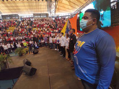 Simpatizantes del PSUV en un acto de campaña el 5 de noviembre en San Cristóbal.