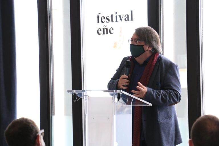El escritor y periodista Jesús Ruiz Mantilla en la presentación del Festival Eñe 2020 en el Círculo de Bellas Artes en Madrid.