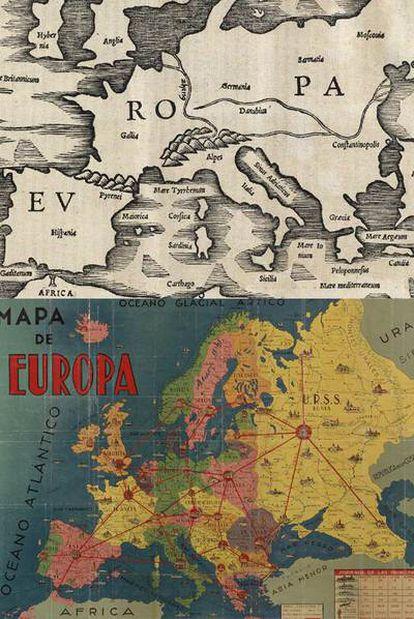 Edición de 1538 de uno de los primeros mapas conservados de Europa, el del geógrafo hispano Pomponio Mela (siglo I). Abajo, mapa del continente en los años veinte del siglo XX. Ambos, de la Biblioteca Nacional.