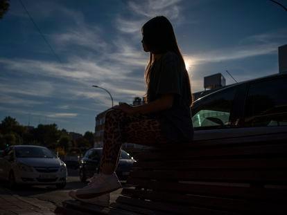 Ana, víctima de violencia de género digital, en Madrid el pasado miércoles.
