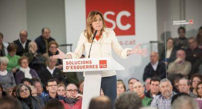 La pesidenta de la Junta, Susana Díaz, durante el mitin del PSC.