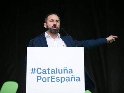 Santiago Abascal, durante un acto de campaña en Barcelona el pasado 30 de marzo.