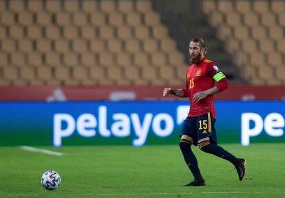 Sergio Ramos, en el partido contra Kosovo este miércoles en Sevilla.