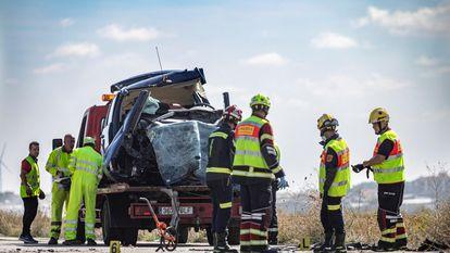 Una colisión entre un turismo y una furgoneta en Toledo el pasado 12 de octubre.