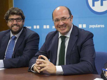 Pedro Antonio Sánchez y Fernado López Miras, el candidato a la presidencia de Murcia.
