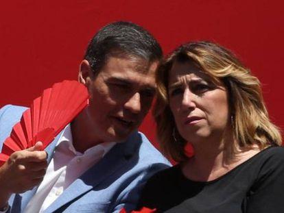 Pedro Sánchez charla con Susana Díaz durante un mitin en Córdoba en 2019.
