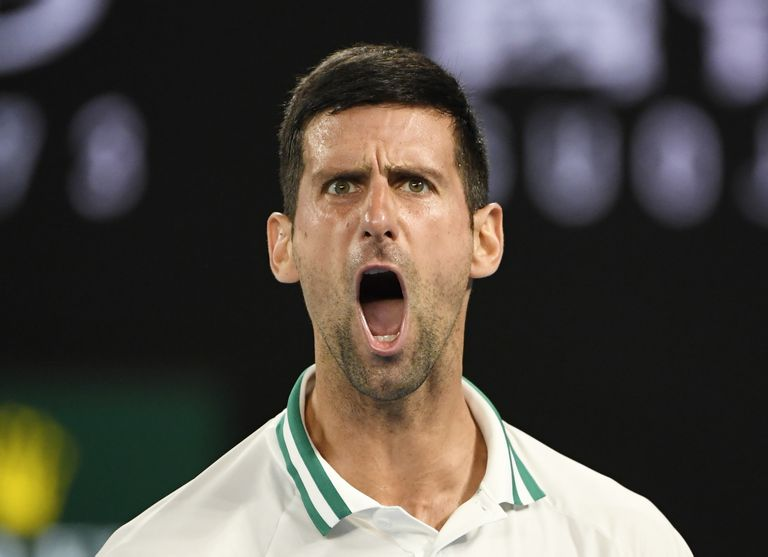 Djokovic celebrates a point during the match against Karatsev in Melbourne.