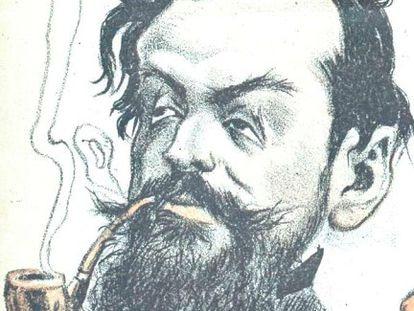 Alejandro Sawa, caricaturizado en 1902 por Don Hermógenes (Manuel Tovar Siles).
