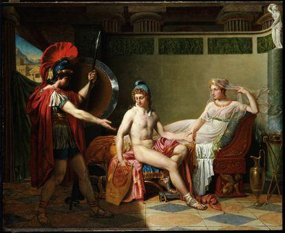 Héctor amonesta a Helena y Paris, en una obra de 1820 del artista belga Jan Ferdinand Heyndrickx.