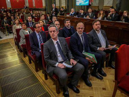 Los acusados del juicio del procés, el primer día de la vista oral en el Tribunal Supremo, en febrero de 2019.