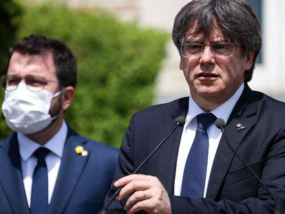 Pere Aragonès y Carles Puigdemont, en Bélgica, en una imagen de archivo.