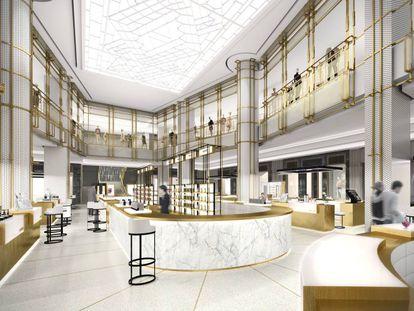 Proyecto de galería comercial para marcas de lujo que se instalará en el interior de Centro Canalejas, junto a la Puerta del Sol.