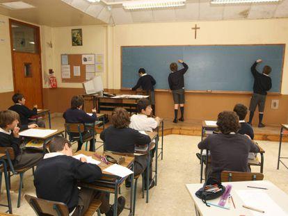 Un aula de sexto de primaria en el colegio privado masculino Erain de Irún (Guipúzcoa).