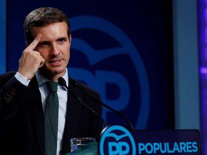 El presidente del PP, Pablo Casado, durante su comparecencia del lunes.