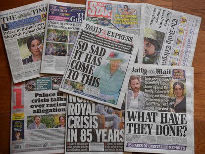 Los periódicos del Reino Unido de este martes, después de que se emitiera la entrevista de los duques de Sussex con Oprah Winfrey.