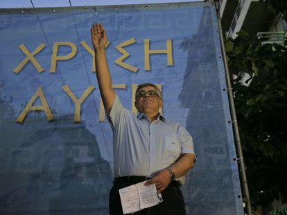 Nikos Mijaloliakos, líder de AD, el miércoles en Atenas.