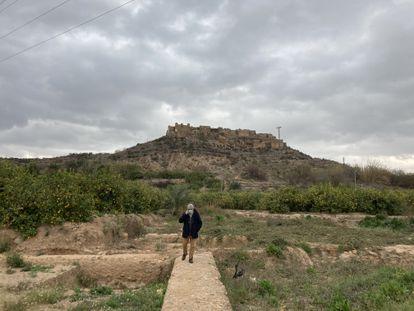 El arqueólogo Julio Navarro camina sobre los muros del palacio del rey Lobo. Al fondo, el castillejo de Monteagudo.