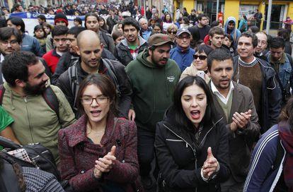 Vallejo y Cariola, en una manifestación estudiantil en 2014.