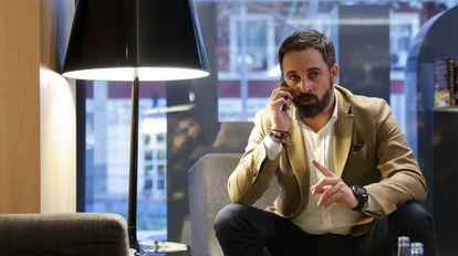 Santiago Abascal, líder de Vox, durante la reunión de la ejecutiva del partido en Madrid.